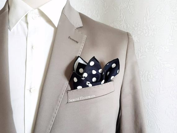 BLACK POCKET SQUARE  HANDKERCHIEF Polka Dot Cotton material WEDDING ACCESSORY