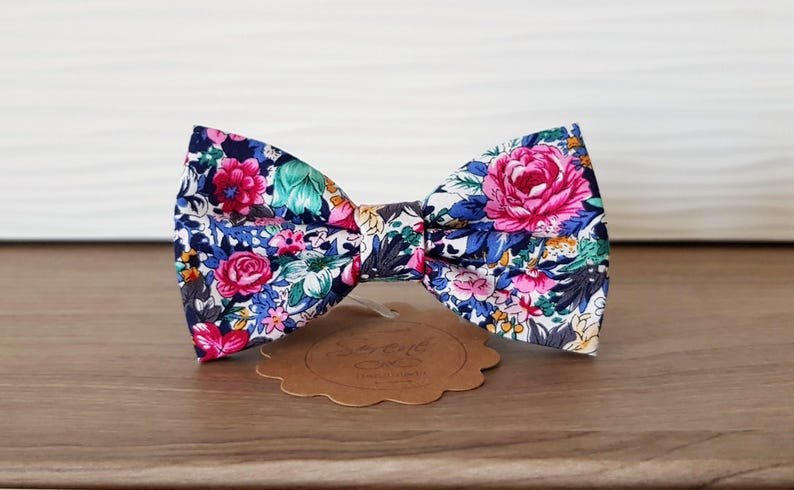 blue aquamarine and pink flowers fantasy groom bow tie gift for him self tie bow tie or pre tied bow tie men bow tie Floral bow tie