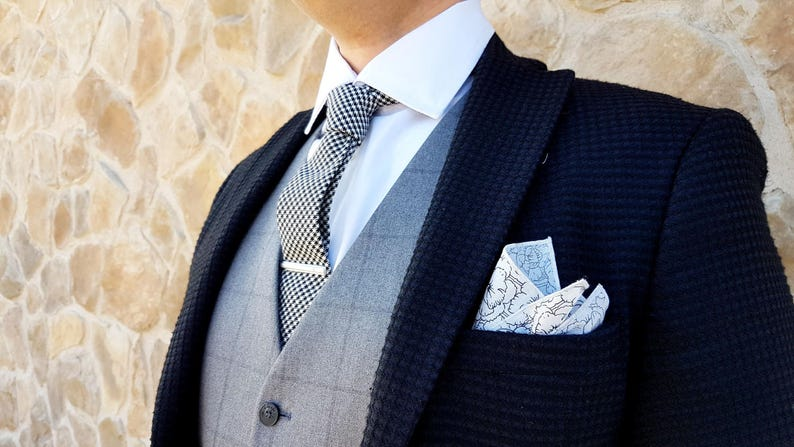 Black And White Pocket Square Pocket Square With Flowers Etsy