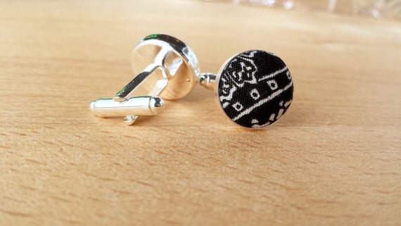 black and white cufflinks men cuff links fabric cuff links silver gold and bronze cufflinks Houndstooth cufflinks cufflinks for groom