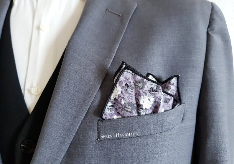 Grey Pocket Square With White Flowers Fantasy Floral Etsy
