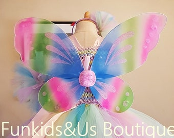 b7b0ecb6d9324 Kids Girl Fairy Butterfly Wings - Butterfly wings- Pastel Rainbow Butterfly  wings - butterfly costume