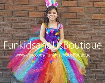 898c8033fdef Rainbow Unicorn Dress - Glitter Rainbow Unicorn Costume - Sparkly tutu Dress  - Unicorn Outfit Birthday -Unicorn outfit