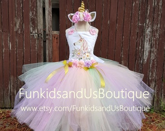 Unicorn Tutu Dresses Birthday girl - Unicorn Dress First Birthday - Unicorn  Birthday Costume - Pastel Dress - a8189c4796d9