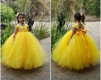 4db1cde554a Yellow Flower Girl Tutu Dress with big Wide Straps - Canary Yellowbeautiful  handmade yellow tutu dress