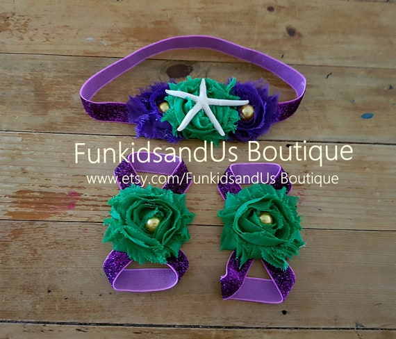 Mermaid Baby Barefoot Sandals Headband Set Purple Green and Gold Under the Sea Photo Props Barefoot and Headband
