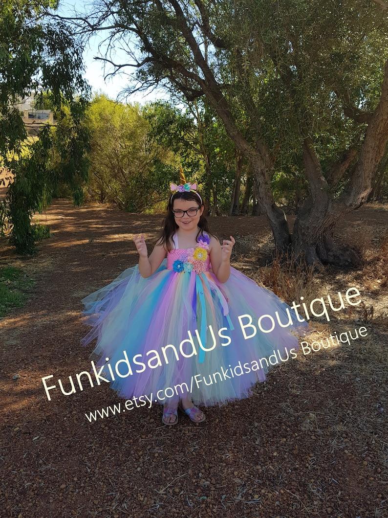 a4864c495ee8a Pastel Unicorn Tutu Dress- Unicorn Dress full length - Unicorn party -  Pastel Rainbow Flower Girl Dress- Rainbow unicorn girls dress