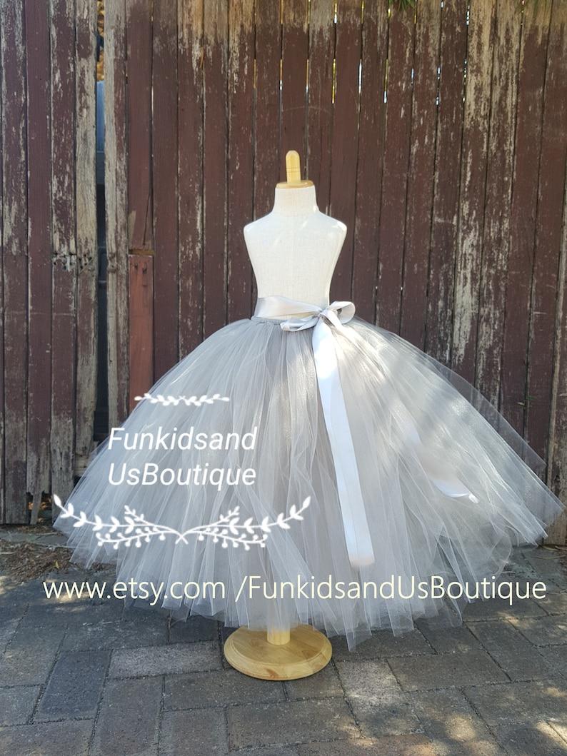 Grey Flower girl Tutu Skirt full length Grey Sewn Tutu Skirt