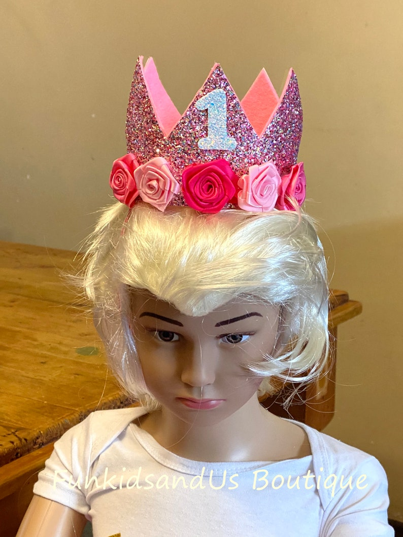 Personalized Birthday  Felt Crown Birthday Crown Girl Crown Glitter Crown First Birthday Baby Crown
