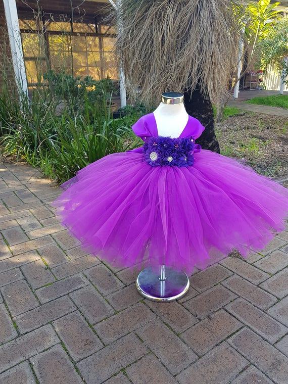 Purple Flower Girl Tutu Dress with big Wide Straps beautiful handmade tutu dress flowergirl