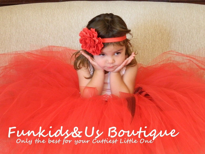 Can Be MADE in Other COLOR Wedding,birthday,flower girl Red Flower girl long Tutu Skirt  with black ribbon lace