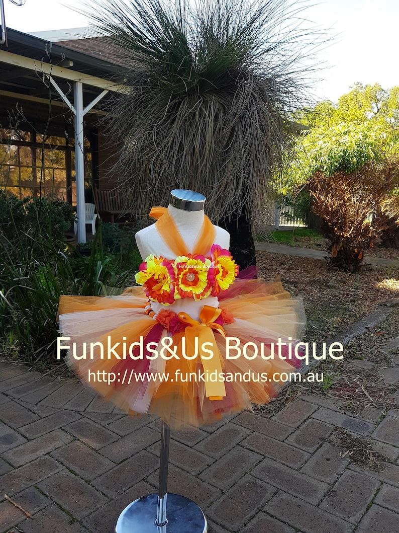 Floral Tutu Dress Birthday Tutu Dress Hula Girl Luau Dress, flower Tutu Dress-  Luau Outfit