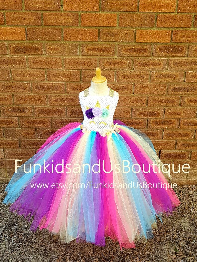 7c35461f2142f Unicorn Tutu Dress- Unicorn Mermaid style Dress - Unicorn Dress hot pink  purple yellow and blue - Unicorn Birthday dress with headband