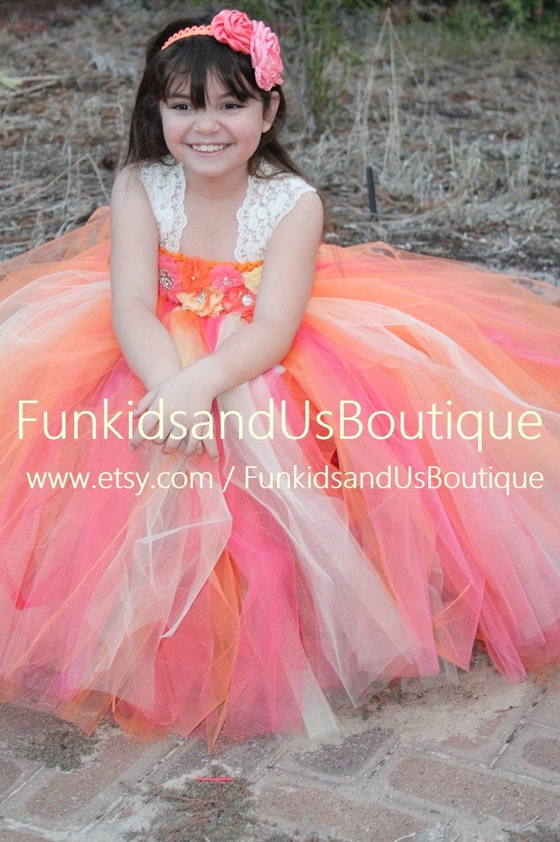 cf22c37c283 Autumn tutu dress Flower Girl dress Autumn wedding Orange