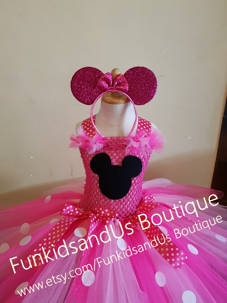 Minnie  birthday party  or school Play outfit smash cake photo prop Hot pink minnie inspired  Costume knee length Tutu Set