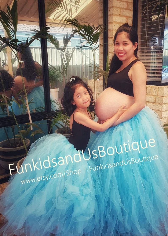 Adult Tulle Skirt Bridal Tutu Blue  Maternity Tulle Skirt Waist line 28 up to 45 Adult Full length Tutu Maternity  Tutu