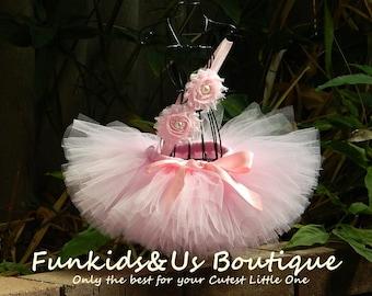 Pink Baby Tutu Set- Newborn Tutu and Headband- Pink Ballerina Birthday Tutu-smash cake