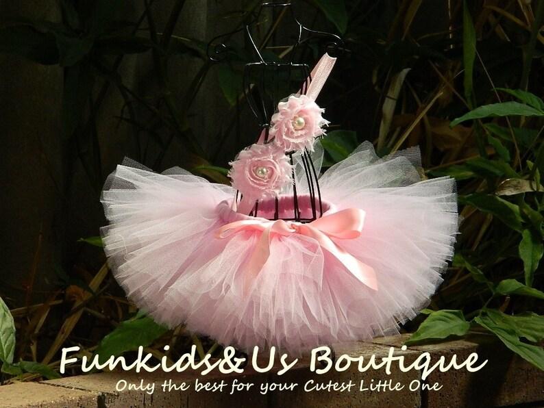 Pink Baby Tutu Set Newborn Tutu and Headband Pink Ballerina image 1