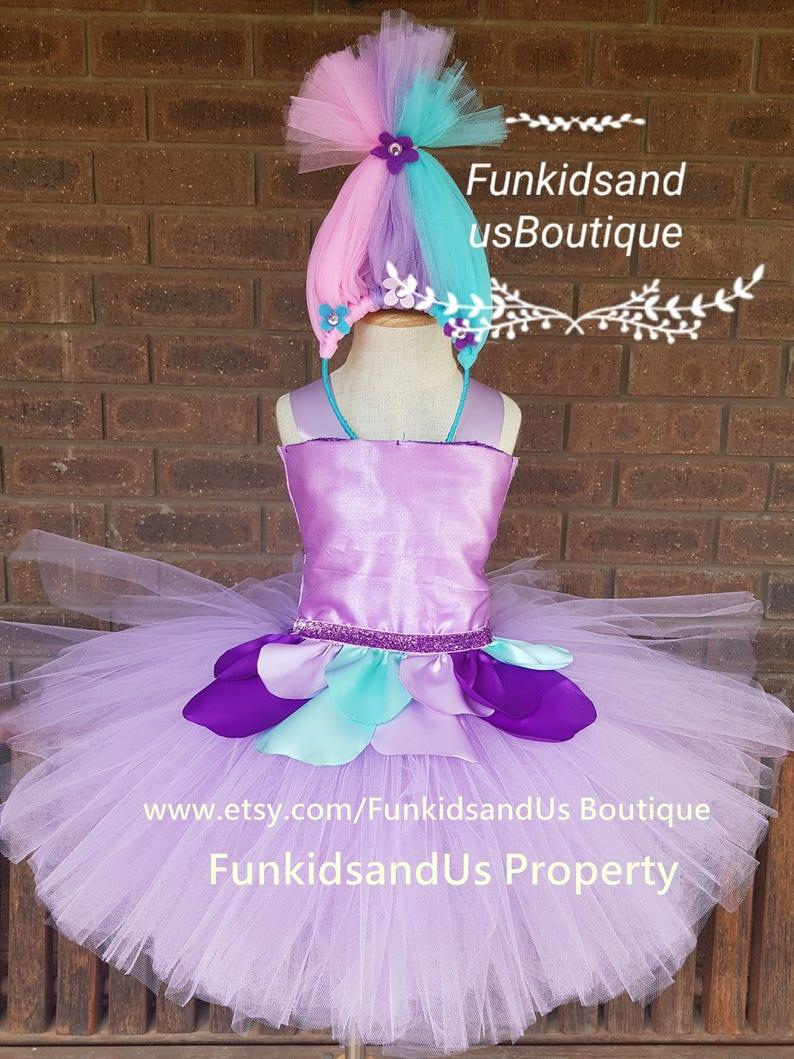 Satin and Chenille inspired tutu dress nspired Handmade Dress. Trolls birthday party inspired Dress