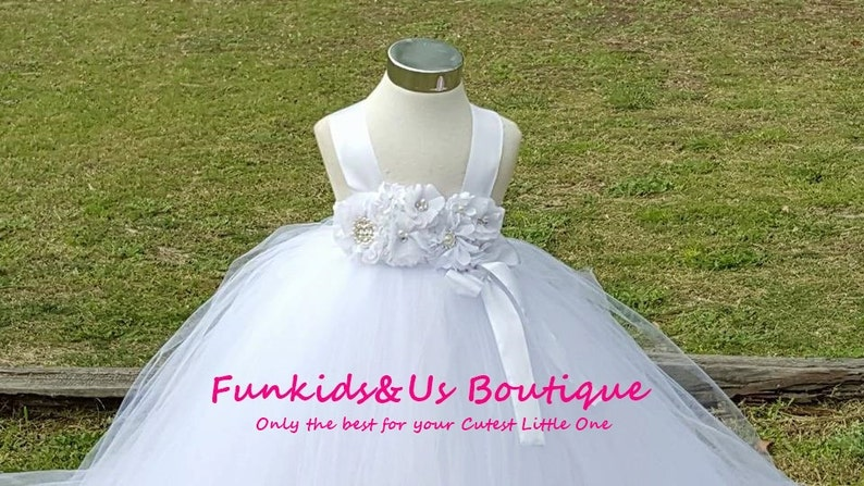 White Flower Girl Tutu Dress With PearlRhinestone Flower Embellishments with detachable Train Any colors
