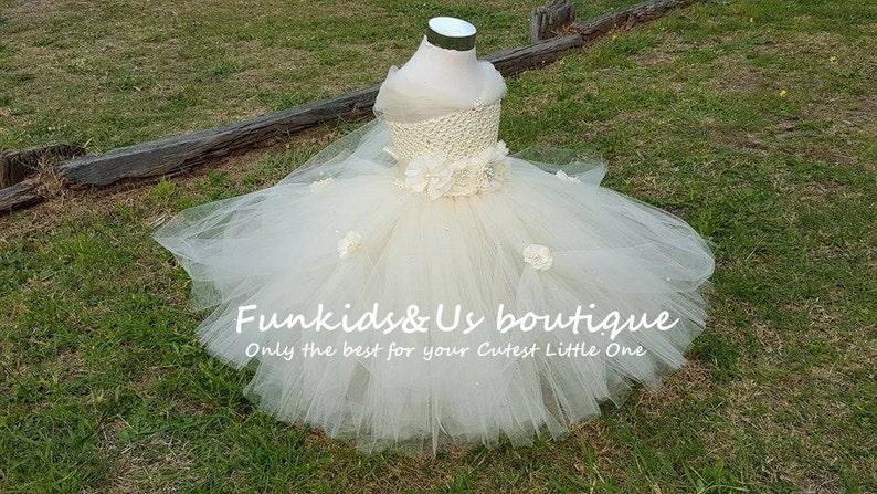 Beautiful Ivory Princess Tutu gown with Rhinestone etc Photo Shoots Perfect for Weddings