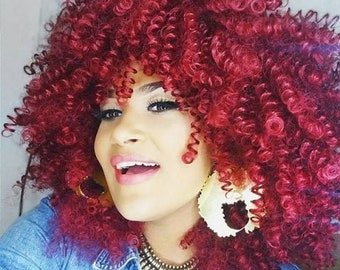 Fluffy Afro Curly Synthetic Wig - Wine Red