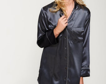 47c019d270899 100% Pure Silk Shirt Dress - Handmade in our Atelier - Women s Nightshirt -  Silk Sleepshirt - Available Midnight Grey
