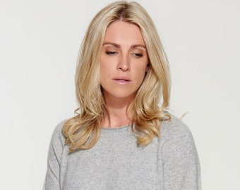 Pure Cashmere Sweater - Pullover - Premium Knit- Handmade -Light Grey Melange - Relaxed Style- Exceptionally Soft and Cosy
