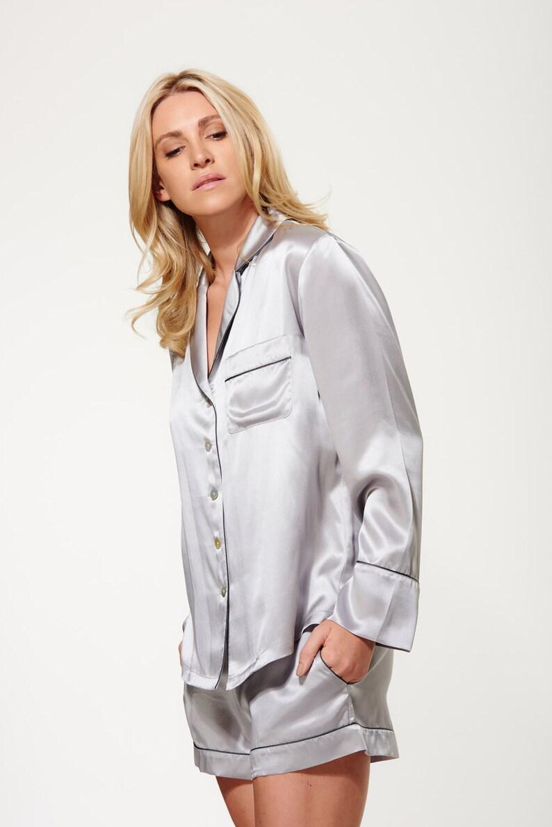 cb72939fbb8c Women s Silk Shirt and Short Pyjama Set 100% Silk Silver