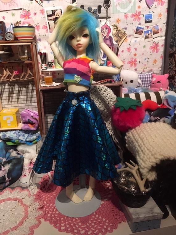 MSD blue holografic mermaid space skirt colorfull rainbow dress outfit bjd 1/4 minifee luts volks