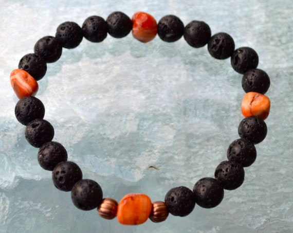 8mm Black Basalt Lava Stone Fire Agate Wrist Mala Beads Bracelet - Grounding, Fertility, Calming, Energizing, Stability, Increase Libido,