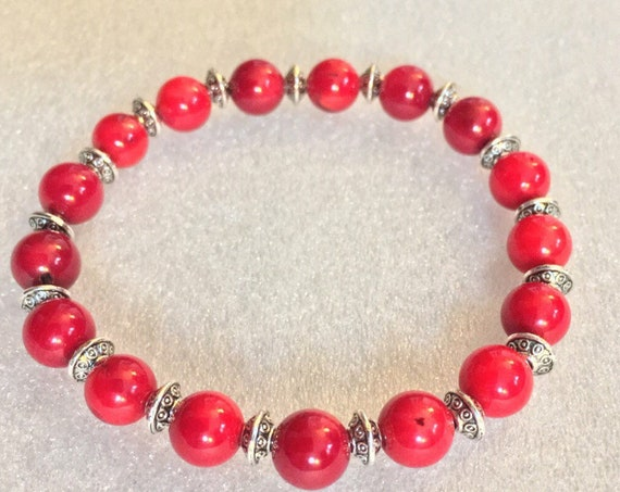 Red Natural Coral Wrist Mala Beads Bracelet Beaded Jewelry Attract love Assists clear reasoning Inventiveness Balanced opinion Truthfulness