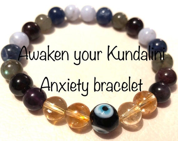 Energized Bracelet for Anxiety Healing Gemstones Blessed Evil Eye bracelet crystal healing anxiety self help  crystals, gift complimentary