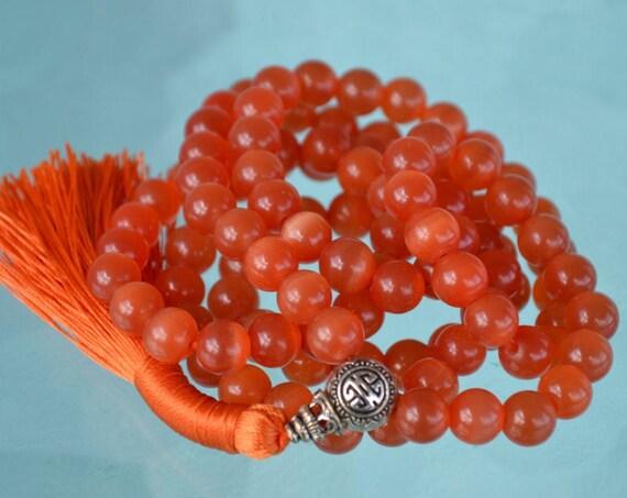 8mm Orange Cat's eye Glass Beads Mala Necklace 108 Prayer Beads