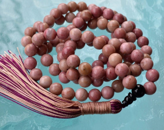 Rhodonite and Black Onyx Mala Necklace 108 knotted Gemstone Fertility Mala Beads Heart Chakra Healing Bracelet Anniversary Gift for her him