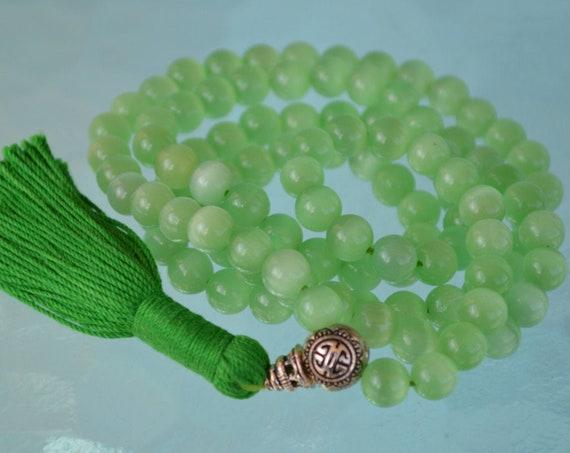 8mm Green Cat's eye Glass Beads Mala Necklace 108 Prayer Beads