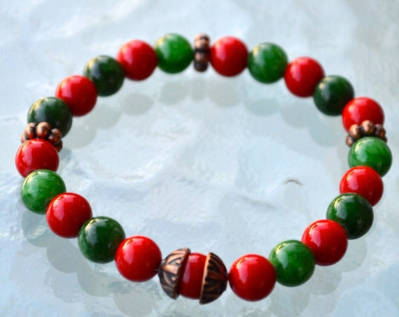 Red Coral Green Jade Wrist Mala Beads Healing Bracelet - Attract love Assists clear reasoning, Inventiveness, Balanced opinion,Truthfulness,