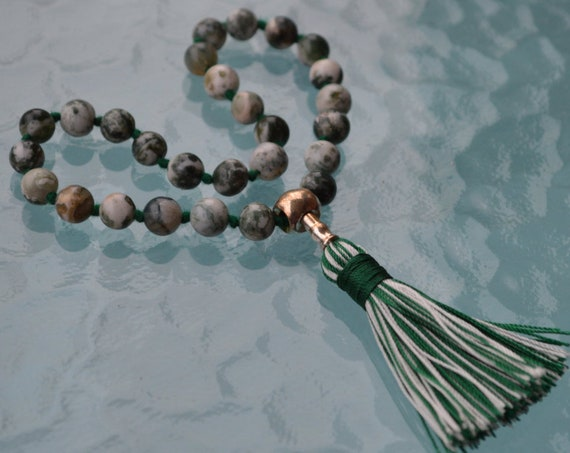 27+1 Green Tree Agate Beads Mala, Dendritic Agate Necklace silver Mala Creates a peaceful environment, Achieving Goals Heart Chakra, Earthy