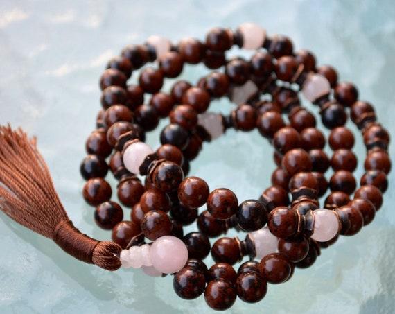 Rose Quartz Mala Beads, Mahogany Obsidian Healing Jewelry, Buddhist Necklace, Knotted Prayer Beads Japa Mala For Healing Detox Stress Relief