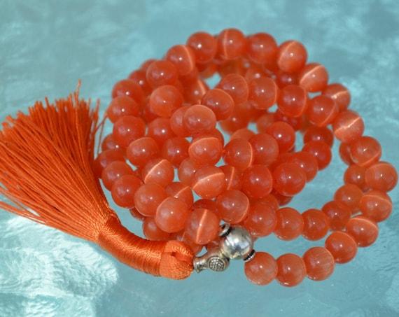 8mm Red Cat's eye Glass Beads Mala Necklace 108 Prayer Beads