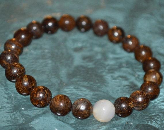 Genuine Bronzite Men's Women Mala Beads Bracelet - Brown Jewelry, Brown Mens Bracelet, Brown Accessories, Brown Gemstone Bracelet for Men