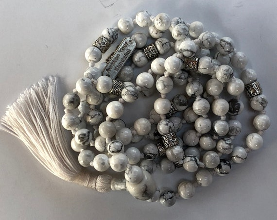 Super Calming Howlite Hand Knotted Tibetan Mala Beads 3rd Chakra Necklace - Balances Calcium, Relieves Stress, Insomnia, Absorbs Anger