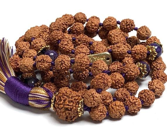 Energized and Blessed Rudraksha Kriya Mala, 108 beads Kriya Mala, Gemstone Kriya mala beads necklace, Paramhansa Yogananda Kriyananda Yoga