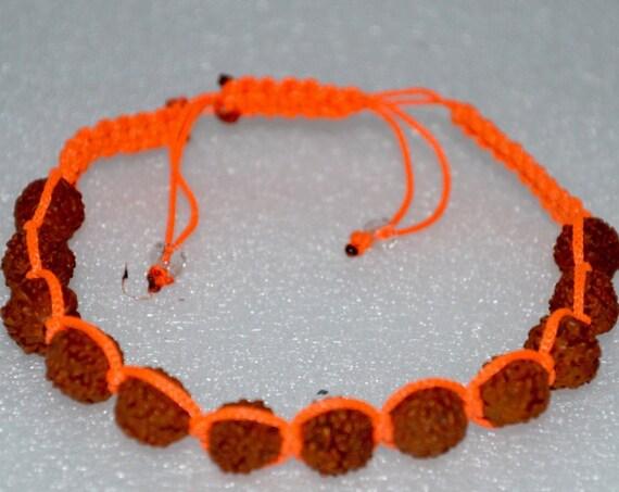 Rudraksh beads, Rudraksha, 8 mm, hand knotted, shamballa bracelet, Mala Beads, Adjustable, Healing Bracelet - Blessed & Energized