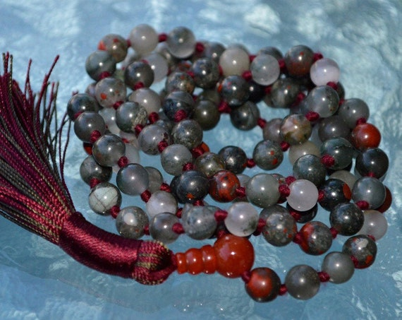 Red African Bloodstone Mala Beads Necklace - Enhances Blood flow, Decision making, Eliminates Blood disorders, Anemia Confusion Impatience