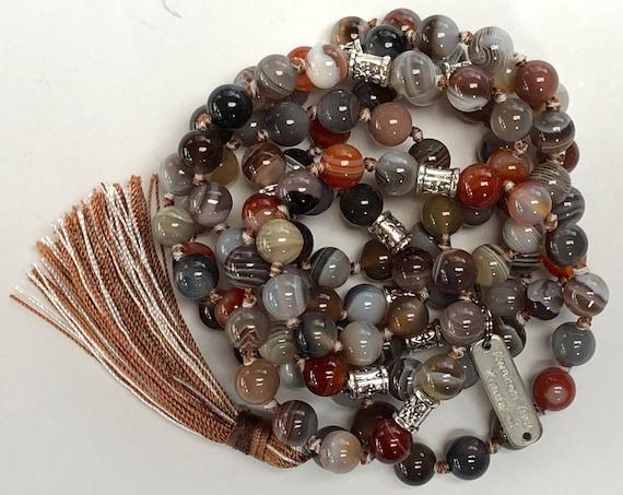 108 Natural Energized Botswana Agate Knotted mala beads addictions quit smoking healing mala Botswana Agate Jewelry Botswana Agate beads