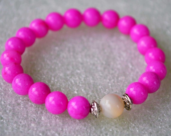 Electric Pink Jade and Mother Of Pearl, Wrist Mala Bracelet - transmute negative energy,heighten intuition, psychic sensitivity, love, heart