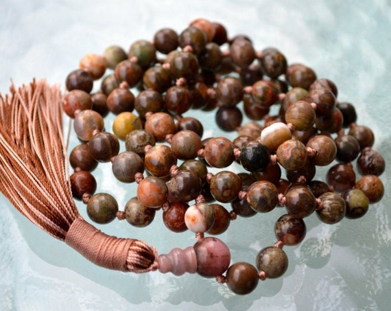 Picture Jasper 108 Knotted Mala Beads Necklace Quit Smoking, Clear toxins, Stimulates Immune system, alleviate fear, connecting to earth
