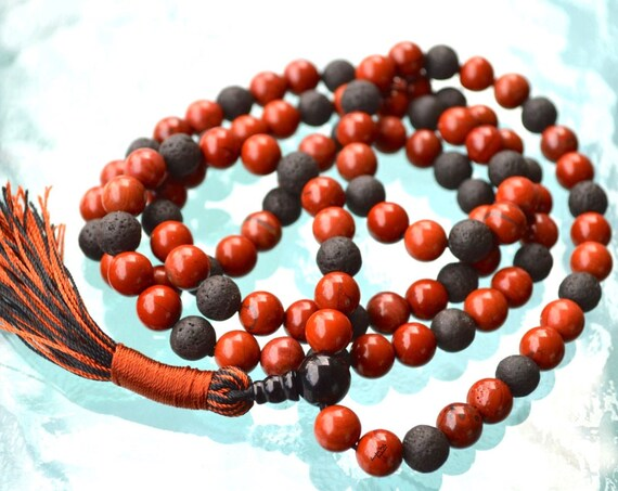 8 mm, 10 mm, Black Basalt Lava Mala Beads Necklace, Raven Skull Mala, Wiccan Jewelry, Wicca, Kali Mala, 108 beads, Japa, Meditation, Prayer