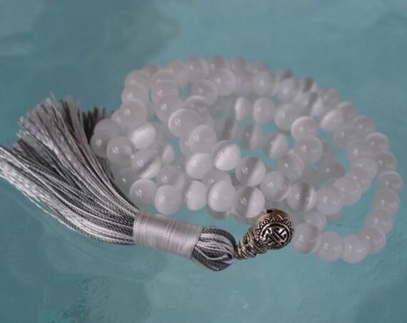 8mm White Cat's eye Glass Beads Mala Necklace 108 Prayer Beads